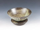 photo Japanese pottery sake cup with a stand  (Koito-Yaki)