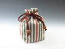 photo Sake cup pouch (Traditional Aizu cotton  Four-colored Stripes)