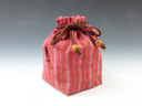 photo Sake cup pouch (Traditional Aizu cotton with three red strips)