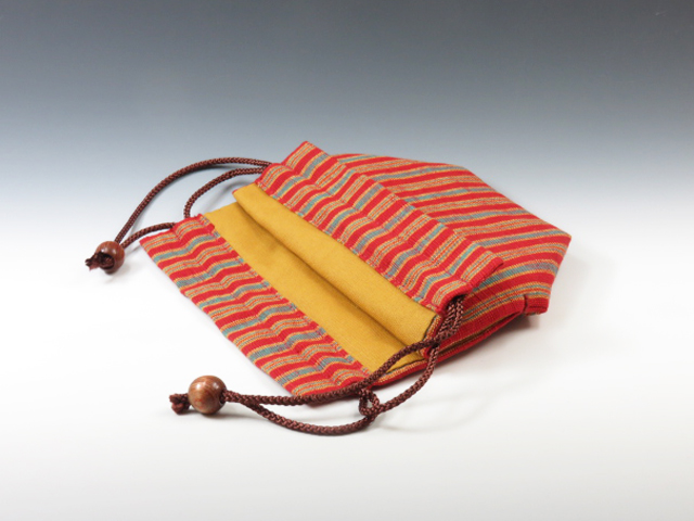 Sake cup pouch (Aizu Cotton red fine stripe)