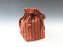 photo Sake cup pouch (Aizu Cotton red fine stripe)