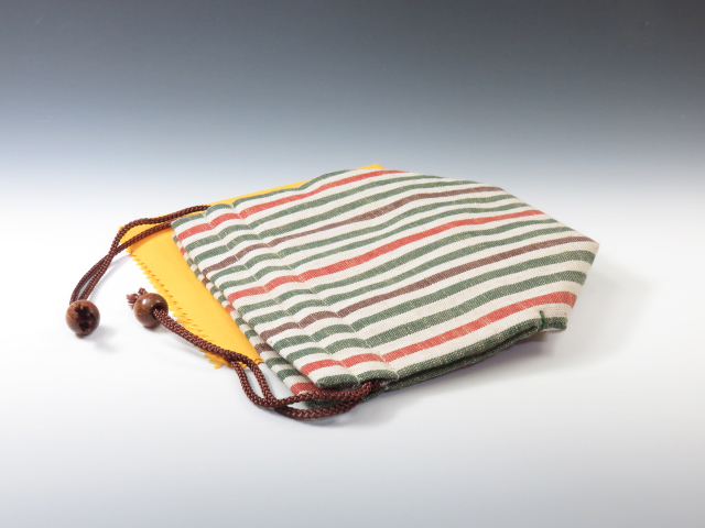Sake cup pouch (Traditional Aizu cotton  Four-colored Stripes)