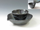 photo Japanese pottery Mokkiri sake cup set (Koito-Yaki)