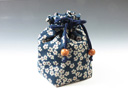 photo Sake cup pouch (Pretty Flower Pedal pattern)