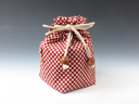 photo Japanese sake cup pouch (Checkered Pattern)