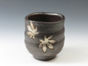 photo Japanese pottery sake cup (Tetsushi-Yaki)