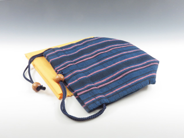 Sake cup pouch (Aize cotton / new three-colored strips)